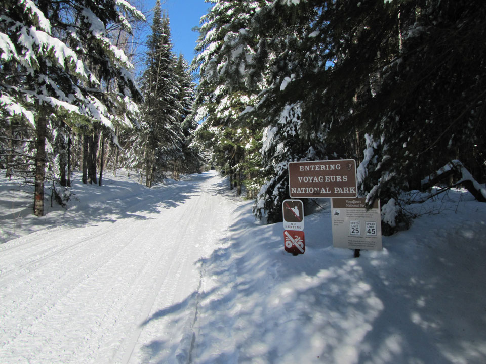Entering Voyageurs National Park on the Moose Grade snowmobile portage